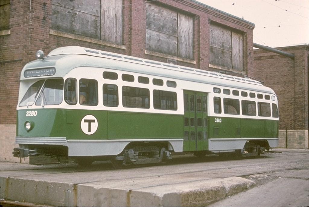 (203k, 1024x687)<br><b>Country:</b> United States<br><b>City:</b> Boston, MA<br><b>System:</b> MBTA<br><b>Line:</b> MBTA Orange Line<br><b>Location:</b> Everett Yard<br><b>Car:</b> MBTA/BSRy PCC Post-War Picture Window (Pullman-Standard, 1951)  3280 <br><b>Collection of:</b> Joe Testagrose<br><b>Date:</b> 12/8/1971<br><b>Viewed (this week/total):</b> 2 / 4759