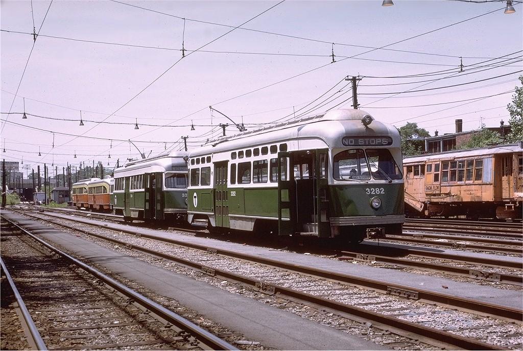 (270k, 1024x688)<br><b>Country:</b> United States<br><b>City:</b> Boston, MA<br><b>System:</b> MBTA<br><b>Line:</b> MBTA Green (D)<br><b>Location:</b> Riverside Yard <br><b>Car:</b> MBTA/BSRy PCC Post-War Picture Window (Pullman-Standard, 1951)  3282 <br><b>Photo by:</b> Joe Testagrose<br><b>Date:</b> 7/2/1972<br><b>Viewed (this week/total):</b> 0 / 2280