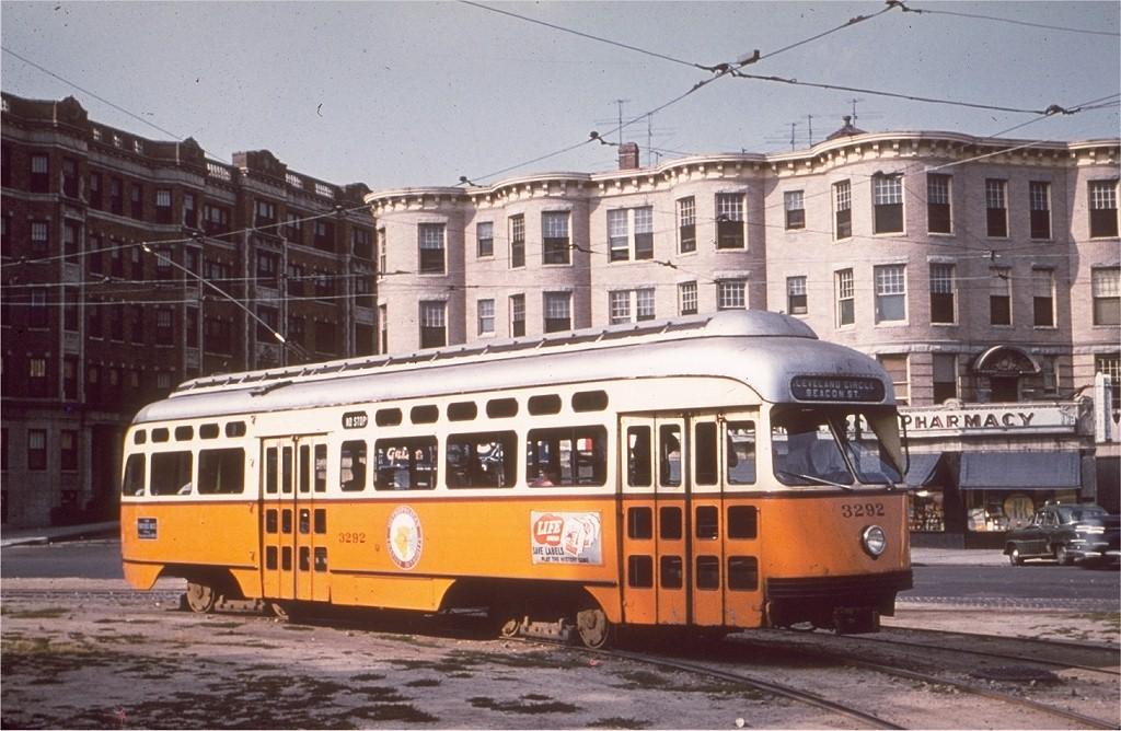 (204k, 1024x668)<br><b>Country:</b> United States<br><b>City:</b> Boston, MA<br><b>System:</b> MBTA<br><b>Line:</b> MBTA Green (C)<br><b>Location:</b> Cleveland Circle <br><b>Car:</b> MBTA/BSRy PCC Post-War Picture Window (Pullman-Standard, 1951)  3292 <br><b>Photo by:</b> Hal Greenwald<br><b>Collection of:</b> Joe Testagrose<br><b>Viewed (this week/total):</b> 1 / 2296