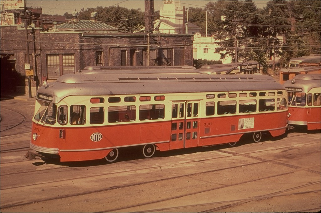 (203k, 1024x678)<br><b>Country:</b> United States<br><b>City:</b> Boston, MA<br><b>System:</b> MBTA<br><b>Line:</b> MBTA Green (D)<br><b>Location:</b> Reservoir <br><b>Car:</b> MBTA/BSRy PCC Post-War Picture Window (Pullman-Standard, 1951)  3311 <br><b>Photo by:</b> Hal Greenwald<br><b>Collection of:</b> Joe Testagrose<br><b>Date:</b> 9/1964<br><b>Viewed (this week/total):</b> 1 / 2009