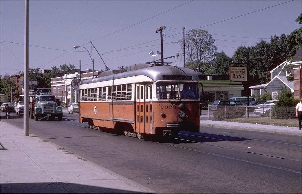 (189k, 1024x658)<br><b>Country:</b> United States<br><b>City:</b> Boston, MA<br><b>System:</b> MBTA<br><b>Line:</b> MBTA Green (E)<br><b>Location:</b> Centre & Spring Park<br><b>Car:</b> MBTA/BSRy PCC Dallas Double End (Pullman-Standard, 1945)  3323 <br><b>Photo by:</b> Joe Testagrose<br><b>Date:</b> 8/13/1970<br><b>Notes:</b> Former Dallas Railway & Terminal 605<br><b>Viewed (this week/total):</b> 2 / 16324