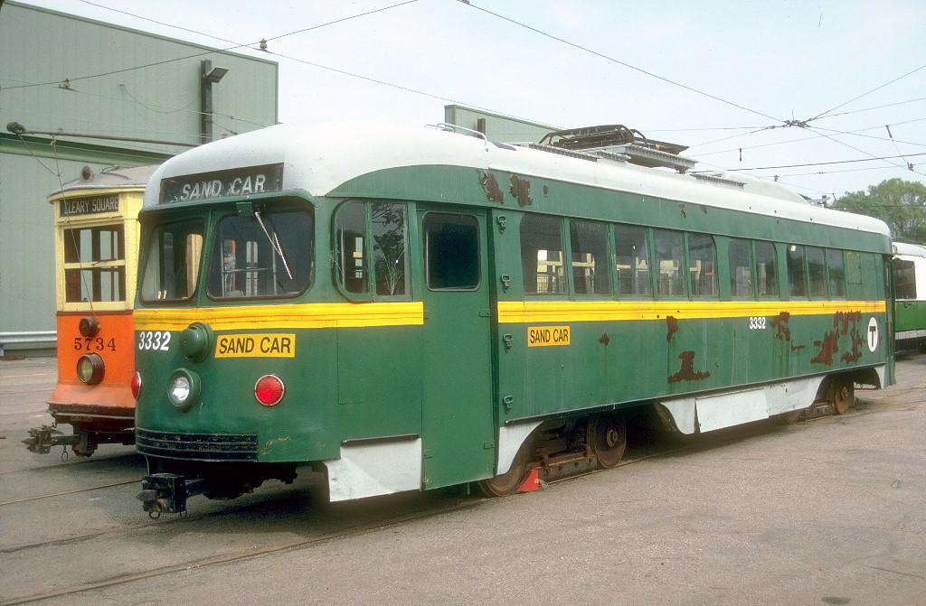 (200k, 1024x671)<br><b>Country:</b> United States<br><b>City:</b> Boston, MA<br><b>System:</b> MBTA<br><b>Line:</b> MBTA Green (A)<br><b>Location:</b> Watertown Yard <br><b>Car:</b> MBTA/BSRy PCC Dallas Double End (Pullman-Standard, 1945)  3332 <br><b>Photo by:</b> <a href=http://www.tramway.com/>www.tramway.com</a><br><b>Collection of:</b> Joe Testagrose<br><b>Date:</b> 5/20/1989<br><b>Notes:</b> Former Dallas Railway & Terminal 618<br><b>Viewed (this week/total):</b> 2 / 4076