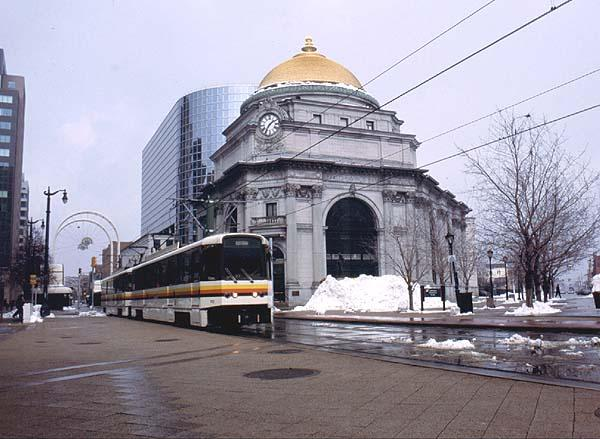 (50k, 600x439)<br><b>Country:</b> United States<br><b>City:</b> Buffalo, NY<br><b>System:</b> NFTA-Metro<br><b>Location:</b> Lafayette Square <br><b>Car:</b>  110 <br><b>Photo by:</b> Rob Hutchinson<br><b>Date:</b> 2/2001<br><b>Notes:</b> Car 110 and mate pass the Buffalo Savings Bank at Lafayette Sq.<br><b>Viewed (this week/total):</b> 2 / 7353