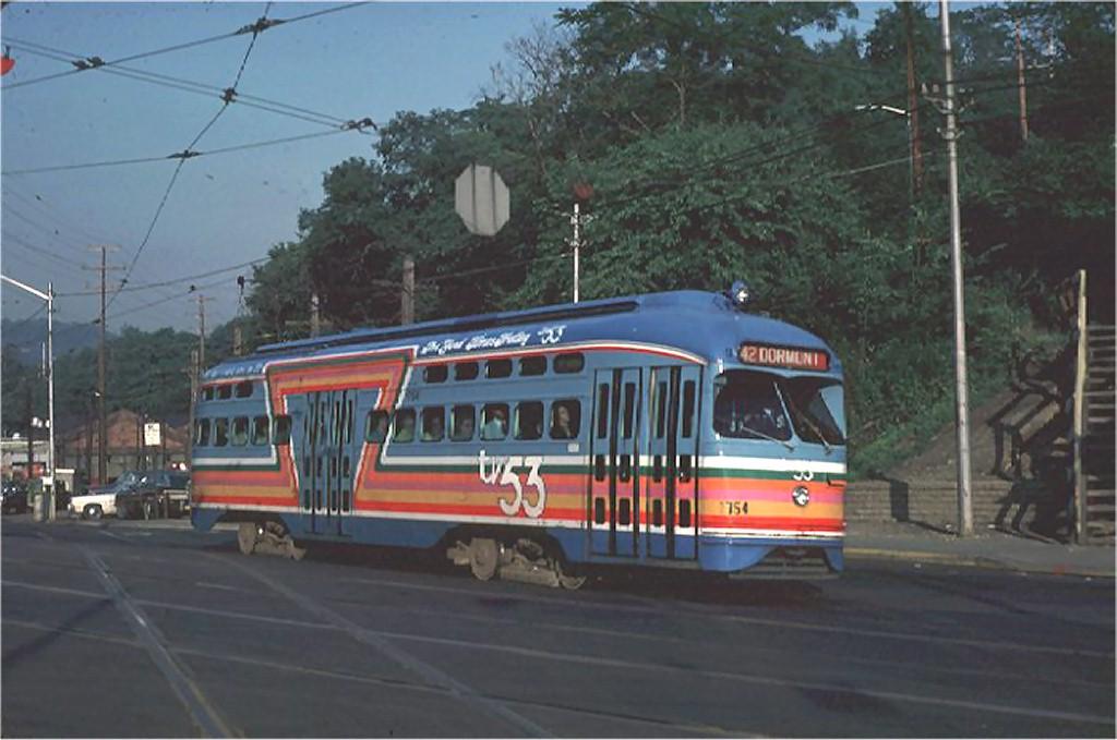 (153k, 1024x679)<br><b>Country:</b> United States<br><b>City:</b> Pittsburgh, PA<br><b>System:</b> PAT <br><b>Location:</b> South Hills Jct. <br><b>Car:</b> Pittsburgh Railways/PAT PCC 1754 <br><b>Photo by:</b> Steve Zabel<br><b>Collection of:</b> Joe Testagrose<br><b>Date:</b> 6/19/1980<br><b>Viewed (this week/total):</b> 1 / 2293