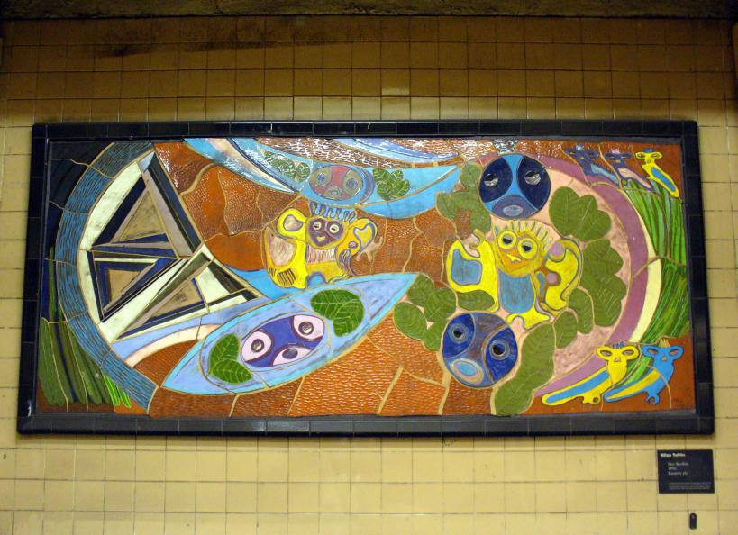 (115k, 819x594)<br><b>Country:</b> United States<br><b>City:</b> New York<br><b>System:</b> New York City Transit<br><b>Line:</b> IRT East Side Line<br><b>Location:</b> 103rd Street <br><b>Photo by:</b> Robbie Rosenfeld<br><b>Date:</b> 5/30/2006<br><b>Artwork:</b> <i>Neo-Boriken</i>, Nitza Tufino (1990).<br><b>Viewed (this week/total):</b> 3 / 3927