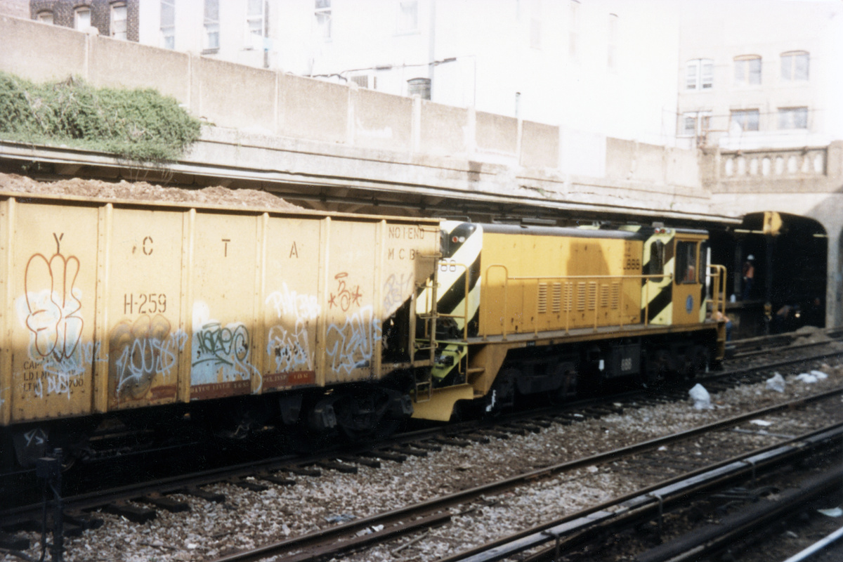 (390k, 1044x695)<br><b>Country:</b> United States<br><b>City:</b> New York<br><b>System:</b> New York City Transit<br><b>Line:</b> BMT Sea Beach Line<br><b>Location:</b> Kings Highway <br><b>Car:</b> R-77 Locomotive  888 <br><b>Collection of:</b> David Pirmann<br><b>Date:</b> 4/11/1987<br><b>Viewed (this week/total):</b> 3 / 3205