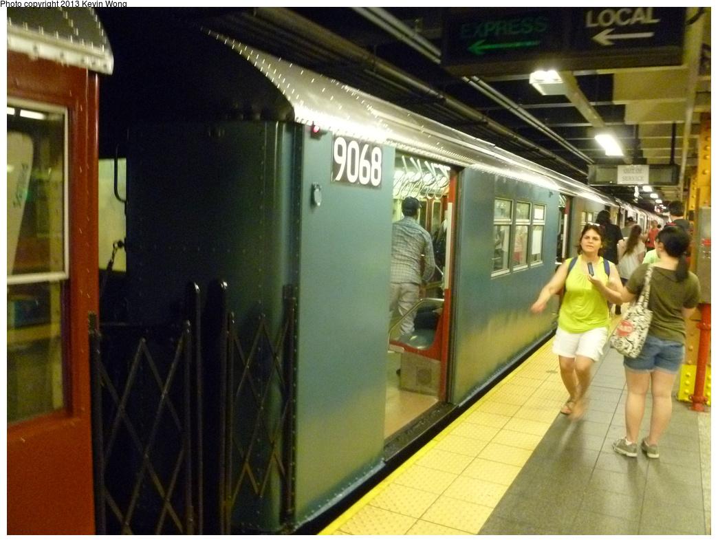(339k, 1044x788)<br><b>Country:</b> United States<br><b>City:</b> New York<br><b>System:</b> New York City Transit<br><b>Line:</b> IRT Flushing Line<br><b>Location:</b> Main Street/Flushing <br><b>Route:</b> Museum Train Service<br><b>Car:</b> R-33 Main Line (St. Louis, 1962-63) 9068 <br><b>Photo by:</b> Kevin Wong<br><b>Date:</b> 7/14/2013<br><b>Viewed (this week/total):</b> 4 / 1330