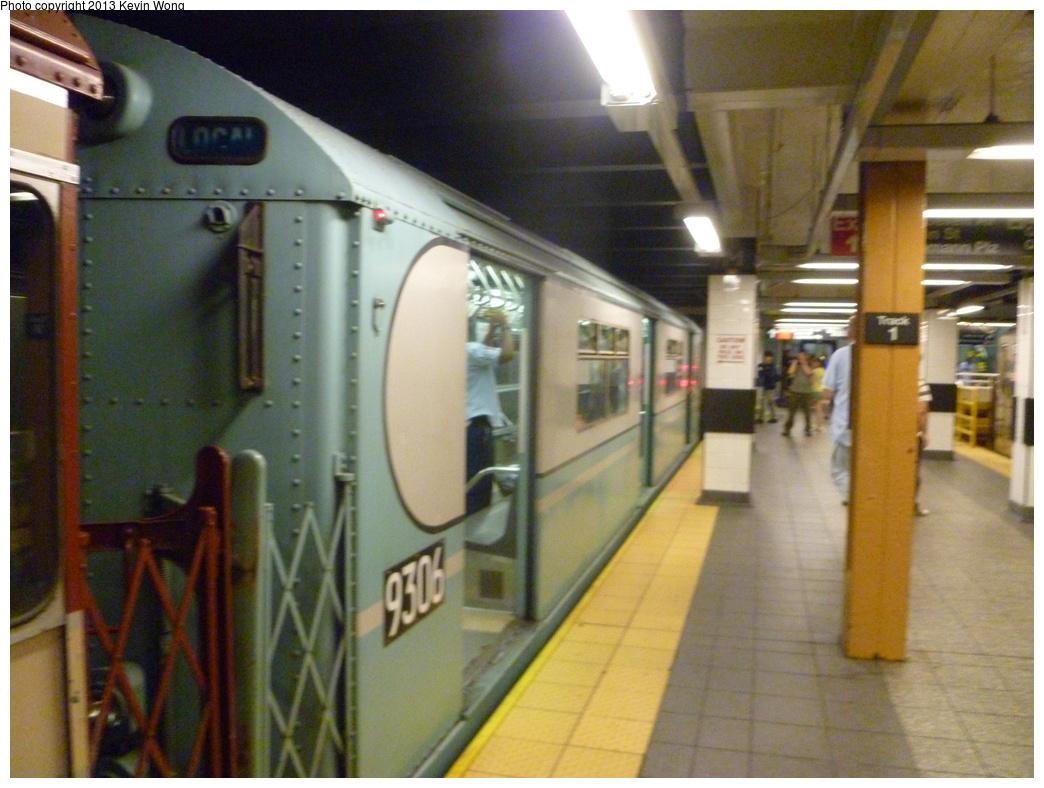 (320k, 1044x788)<br><b>Country:</b> United States<br><b>City:</b> New York<br><b>System:</b> New York City Transit<br><b>Line:</b> IRT Flushing Line<br><b>Location:</b> Main Street/Flushing <br><b>Route:</b> Museum Train Service<br><b>Car:</b> R-33 World's Fair (St. Louis, 1963-64) 9306 <br><b>Photo by:</b> Kevin Wong<br><b>Date:</b> 7/14/2013<br><b>Viewed (this week/total):</b> 2 / 1125