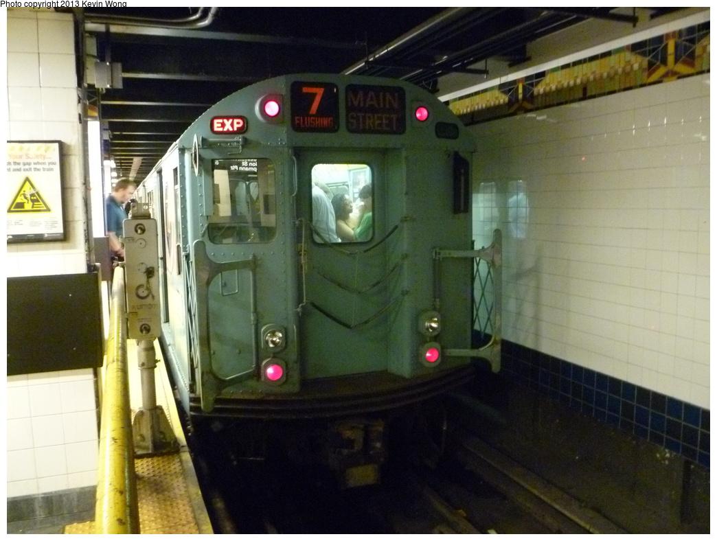 (314k, 1044x788)<br><b>Country:</b> United States<br><b>City:</b> New York<br><b>System:</b> New York City Transit<br><b>Line:</b> IRT Flushing Line<br><b>Location:</b> Main Street/Flushing <br><b>Route:</b> Museum Train Service<br><b>Car:</b> R-33 World's Fair (St. Louis, 1963-64) 9306 <br><b>Photo by:</b> Kevin Wong<br><b>Date:</b> 7/14/2013<br><b>Viewed (this week/total):</b> 2 / 1251