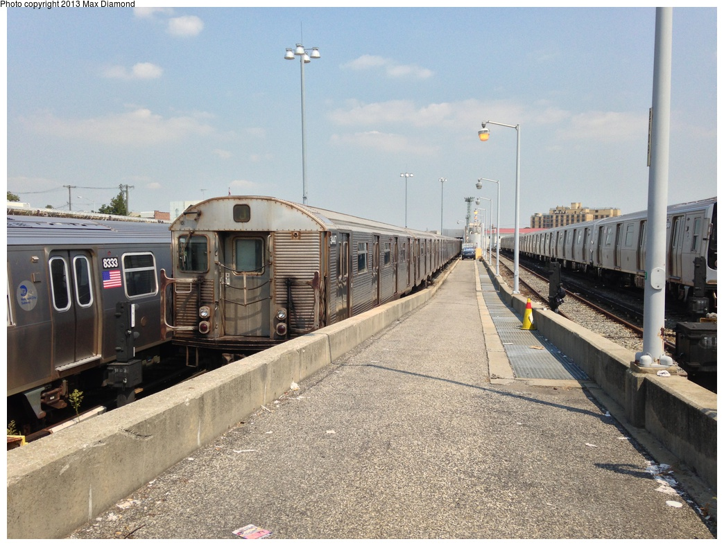 (335k, 1044x788)<br><b>Country:</b> United States<br><b>City:</b> New York<br><b>System:</b> New York City Transit<br><b>Location:</b> Rockaway Parkway (Canarsie) Yard<br><b>Car:</b> R-32 (Budd, 1964)  3447 <br><b>Photo by:</b> Max Diamond<br><b>Date:</b> 8/21/2013<br><b>Viewed (this week/total):</b> 1 / 842