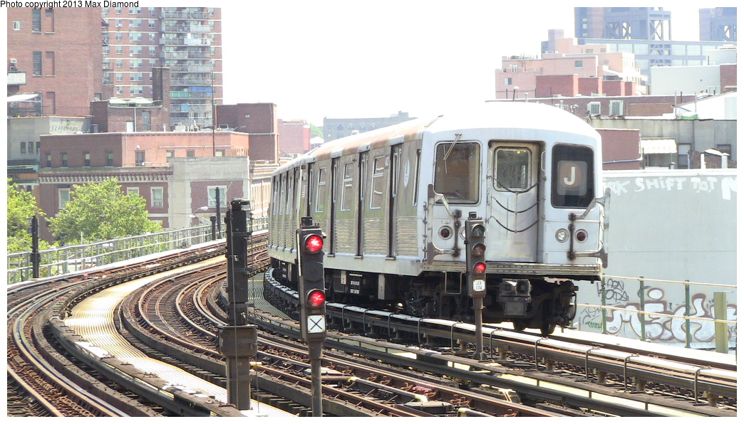 (327k, 1044x596)<br><b>Country:</b> United States<br><b>City:</b> New York<br><b>System:</b> New York City Transit<br><b>Line:</b> BMT Nassau Street/Jamaica Line<br><b>Location:</b> Hewes Street <br><b>Route:</b> J<br><b>Car:</b> R-42 (St. Louis, 1969-1970)   <br><b>Photo by:</b> Max Diamond<br><b>Date:</b> 7/29/2013<br><b>Viewed (this week/total):</b> 3 / 811