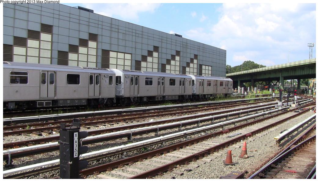 (333k, 1044x596)<br><b>Country:</b> United States<br><b>City:</b> New York<br><b>System:</b> New York City Transit<br><b>Location:</b> East 180th Street Yard<br><b>Car:</b> R-188 (Kawasaki, 2012-) 7813 <br><b>Photo by:</b> Max Diamond<br><b>Date:</b> 7/29/2013<br><b>Viewed (this week/total):</b> 0 / 699
