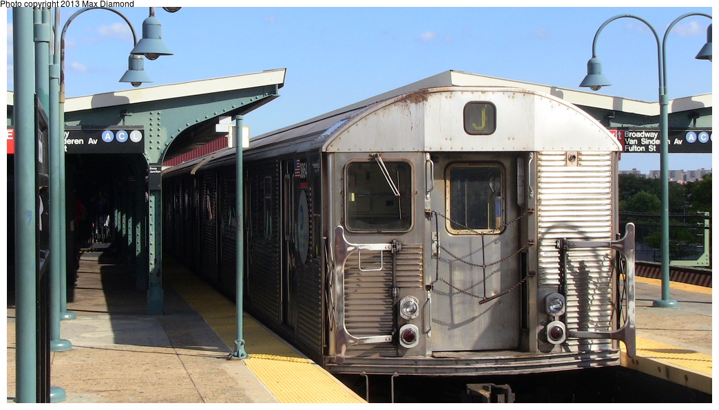 (274k, 1044x596)<br><b>Country:</b> United States<br><b>City:</b> New York<br><b>System:</b> New York City Transit<br><b>Line:</b> BMT Nassau Street/Jamaica Line<br><b>Location:</b> Broadway/East New York (Broadway Junction) <br><b>Route:</b> J<br><b>Car:</b> R-32 (Budd, 1964)  3864 <br><b>Photo by:</b> Max Diamond<br><b>Date:</b> 8/4/2013<br><b>Viewed (this week/total):</b> 0 / 987