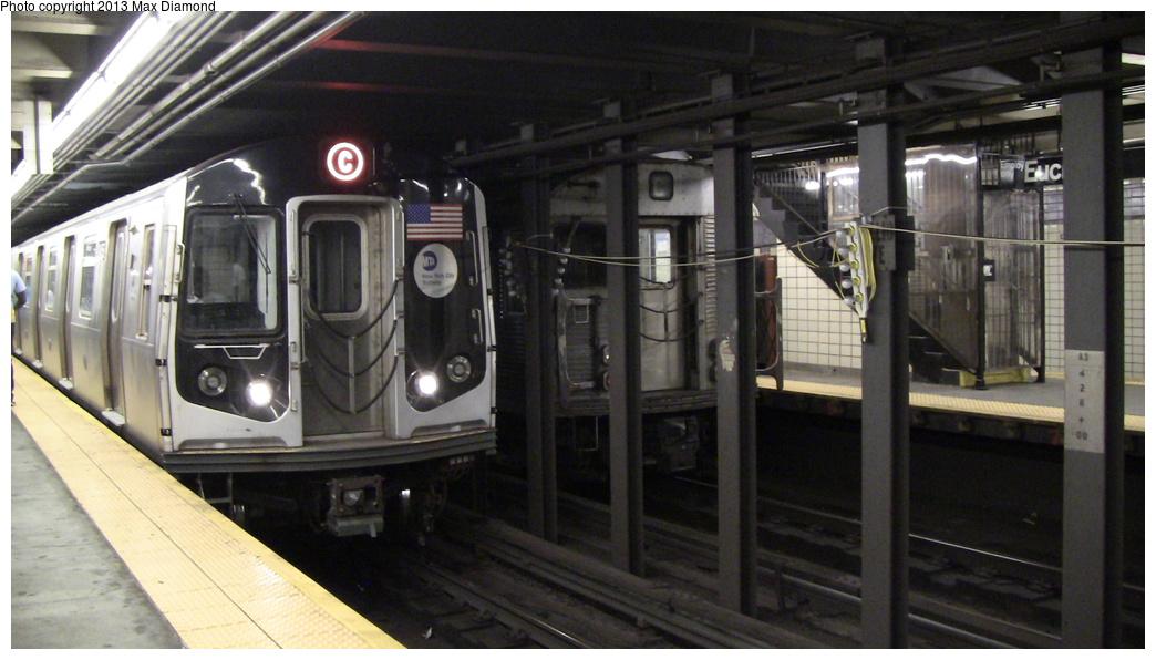 (251k, 1044x596)<br><b>Country:</b> United States<br><b>City:</b> New York<br><b>System:</b> New York City Transit<br><b>Line:</b> IND Fulton Street Line<br><b>Location:</b> Euclid Avenue <br><b>Route:</b> C<br><b>Car:</b> R-160A/R-160B Series (Number Unknown)  <br><b>Photo by:</b> Max Diamond<br><b>Date:</b> 8/7/2013<br><b>Viewed (this week/total):</b> 4 / 1180