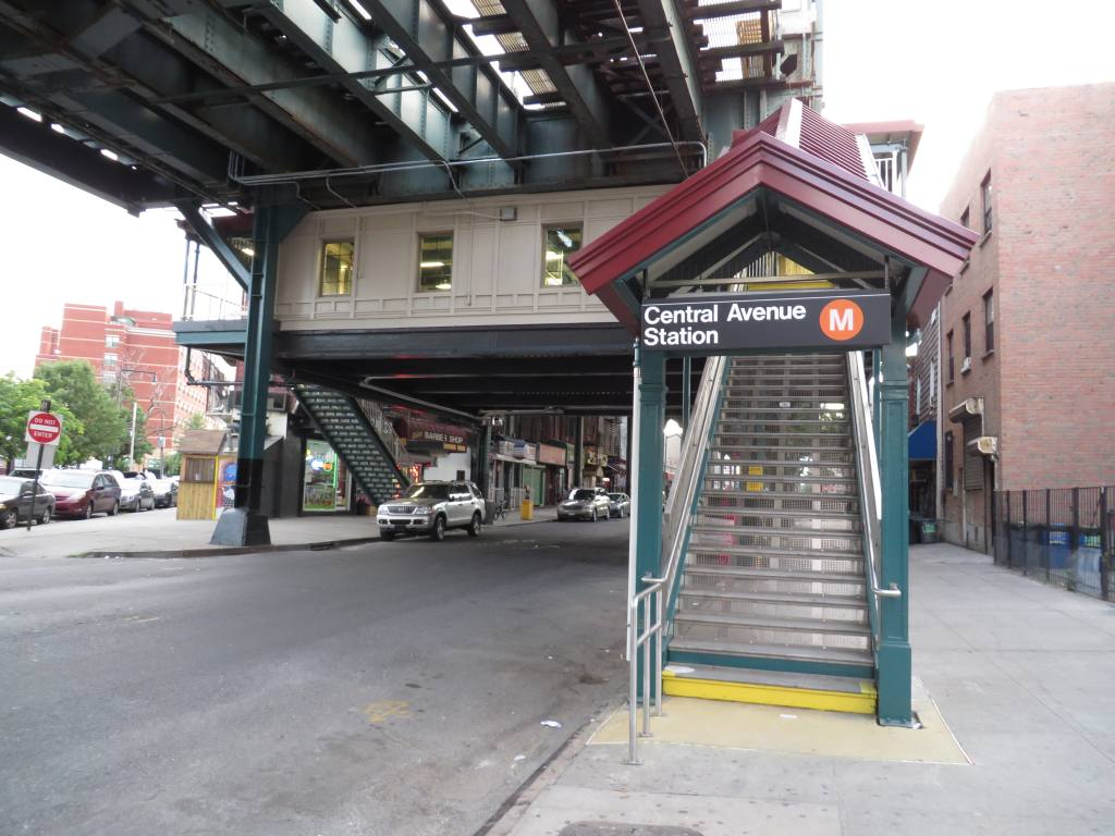 (120k, 1024x768)<br><b>Country:</b> United States<br><b>City:</b> New York<br><b>System:</b> New York City Transit<br><b>Line:</b> BMT Myrtle Avenue Line<br><b>Location:</b> Central Avenue<br><b>Photo by:</b> Robbie Rosenfeld<br><b>Date:</b> 8/19/2013<br><b>Notes:</b> Renovated station.<br><b>Viewed (this week/total):</b> 3 / 1845