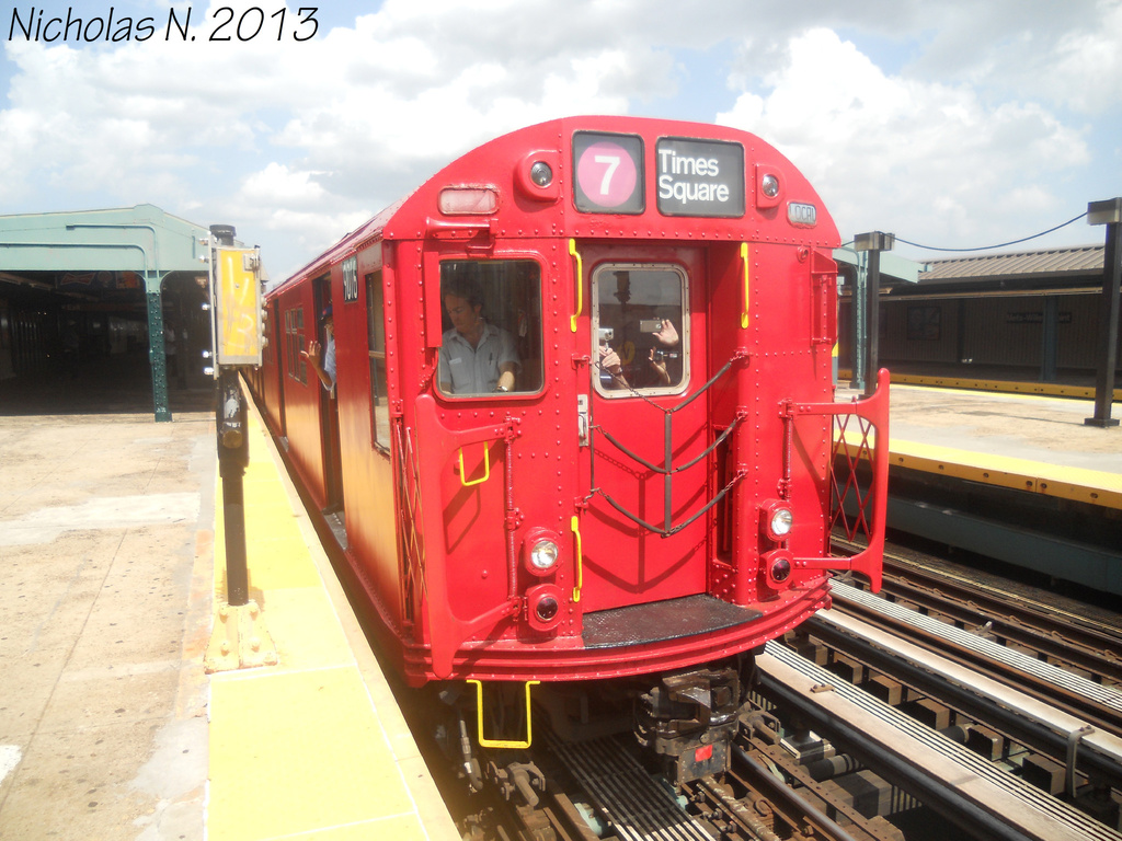 (366k, 1024x768)<br><b>Country:</b> United States<br><b>City:</b> New York<br><b>System:</b> New York City Transit<br><b>Line:</b> IRT Flushing Line<br><b>Location:</b> Willets Point/Mets (fmr. Shea Stadium) <br><b>Route:</b> Museum Train Service<br><b>Car:</b> R-33 Main Line (St. Louis, 1962-63) 9016 <br><b>Photo by:</b> Nicholas Noel<br><b>Date:</b> 7/14/2013<br><b>Viewed (this week/total):</b> 1 / 1383