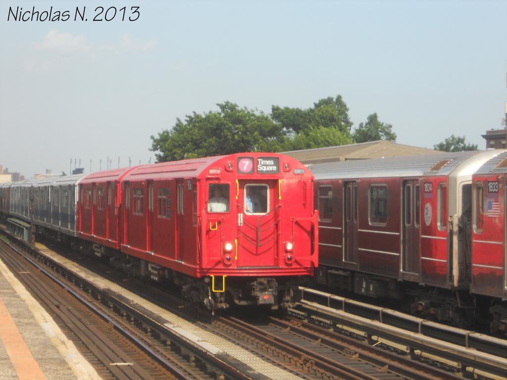 (293k, 1024x768)<br><b>Country:</b> United States<br><b>City:</b> New York<br><b>System:</b> New York City Transit<br><b>Line:</b> IRT Flushing Line<br><b>Location:</b> 103rd Street/Corona Plaza <br><b>Route:</b> Museum Train Service<br><b>Car:</b> R-33 Main Line (St. Louis, 1962-63) 9016 <br><b>Photo by:</b> Nicholas Noel<br><b>Date:</b> 7/14/2013<br><b>Viewed (this week/total):</b> 0 / 1475