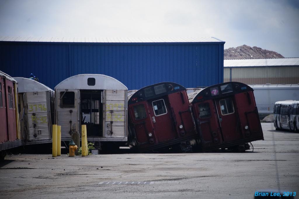(239k, 1024x680)<br><b>Country:</b> United States<br><b>City:</b> New York<br><b>System:</b> New York City Transit<br><b>Location:</b> Sims Metal, Newark NJ<br><b>Car:</b> R-32 (Budd, 1964)  3797 <br><b>Photo by:</b> Brian Lee<br><b>Date:</b> 8/7/2013<br><b>Notes:</b> With R-33 WF 9318, 9338<br><b>Viewed (this week/total):</b> 0 / 2180