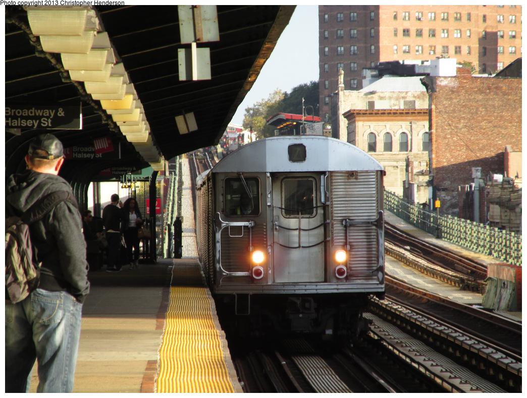 (362k, 1044x788)<br><b>Country:</b> United States<br><b>City:</b> New York<br><b>System:</b> New York City Transit<br><b>Line:</b> BMT Nassau Street/Jamaica Line<br><b>Location:</b> Halsey Street <br><b>Route:</b> Z<br><b>Car:</b> R-32 (Budd, 1964)  3770 <br><b>Photo by:</b> Christopher Henderson<br><b>Date:</b> 10/14/2013<br><b>Viewed (this week/total):</b> 0 / 1168