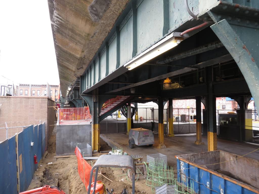 (131k, 1024x768)<br><b>Country:</b> United States<br><b>City:</b> New York<br><b>System:</b> New York City Transit<br><b>Line:</b> BMT Myrtle Avenue Line<br><b>Location:</b> Fresh Pond Road<br><b>Photo by:</b> Robbie Rosenfeld<br><b>Date:</b> 9/16/2013<br><b>Notes:</b> Station renovation<br><b>Viewed (this week/total):</b> 0 / 1423