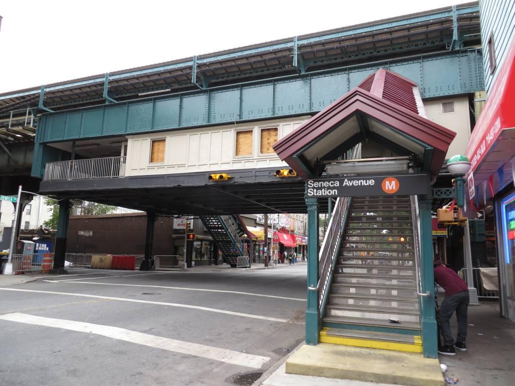 (137k, 1024x768)<br><b>Country:</b> United States<br><b>City:</b> New York<br><b>System:</b> New York City Transit<br><b>Line:</b> BMT Myrtle Avenue Line<br><b>Location:</b> Seneca Avenue <br><b>Photo by:</b> Robbie Rosenfeld<br><b>Date:</b> 9/16/2013<br><b>Notes:</b> Station renovation<br><b>Viewed (this week/total):</b> 0 / 1302