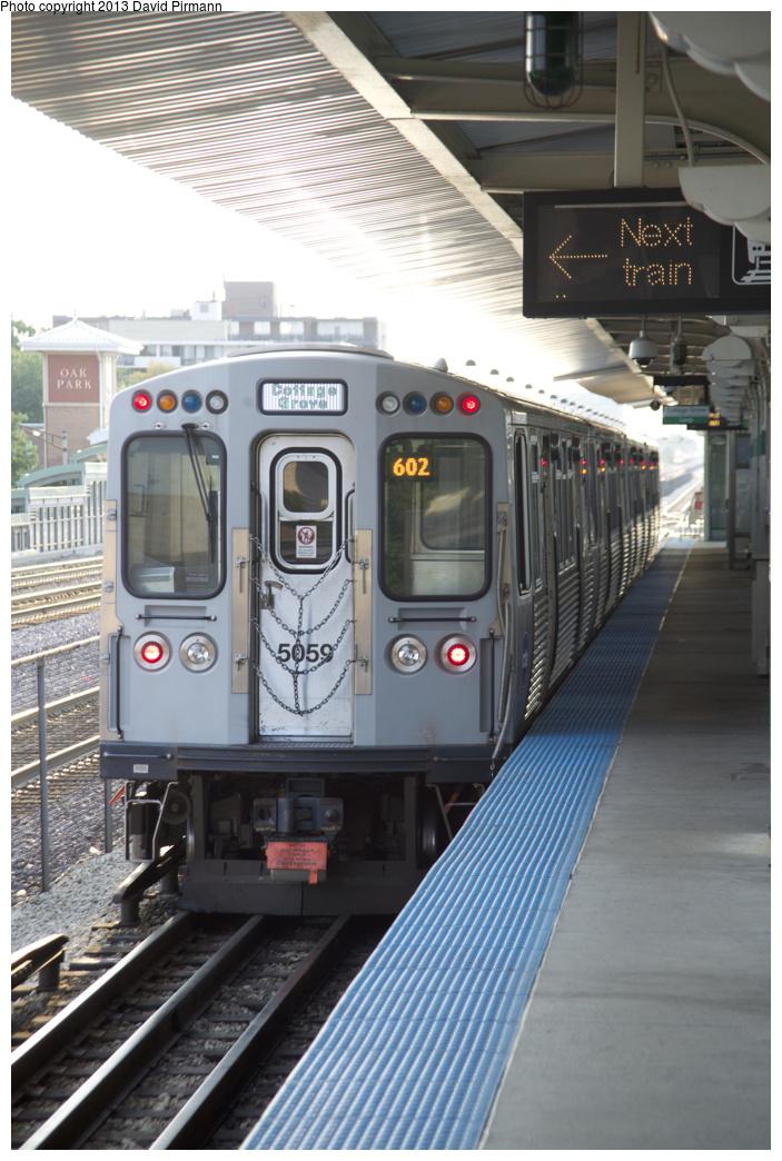 (333k, 703x1044)<br><b>Country:</b> United States<br><b>City:</b> Chicago, IL<br><b>System:</b> Chicago Transit Authority <br><b>Line:</b> CTA Green (Lake/South Side)<br><b>Location:</b> Oak Park <br><b>Route:</b> Green<br><b>Car:</b> CTA 5000 Series 5059 <br><b>Photo by:</b> David Pirmann<br><b>Date:</b> 8/25/2013<br><b>Viewed (this week/total):</b> 0 / 499
