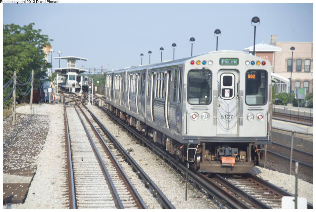 (302k, 1044x703)<br><b>Country:</b> United States<br><b>City:</b> Chicago, IL<br><b>System:</b> Chicago Transit Authority <br><b>Line:</b> CTA Green (Lake/South Side)<br><b>Location:</b> Oak Park <br><b>Route:</b> Green<br><b>Car:</b> CTA 5000 Series 5127 <br><b>Photo by:</b> David Pirmann<br><b>Date:</b> 8/25/2013<br><b>Viewed (this week/total):</b> 0 / 592