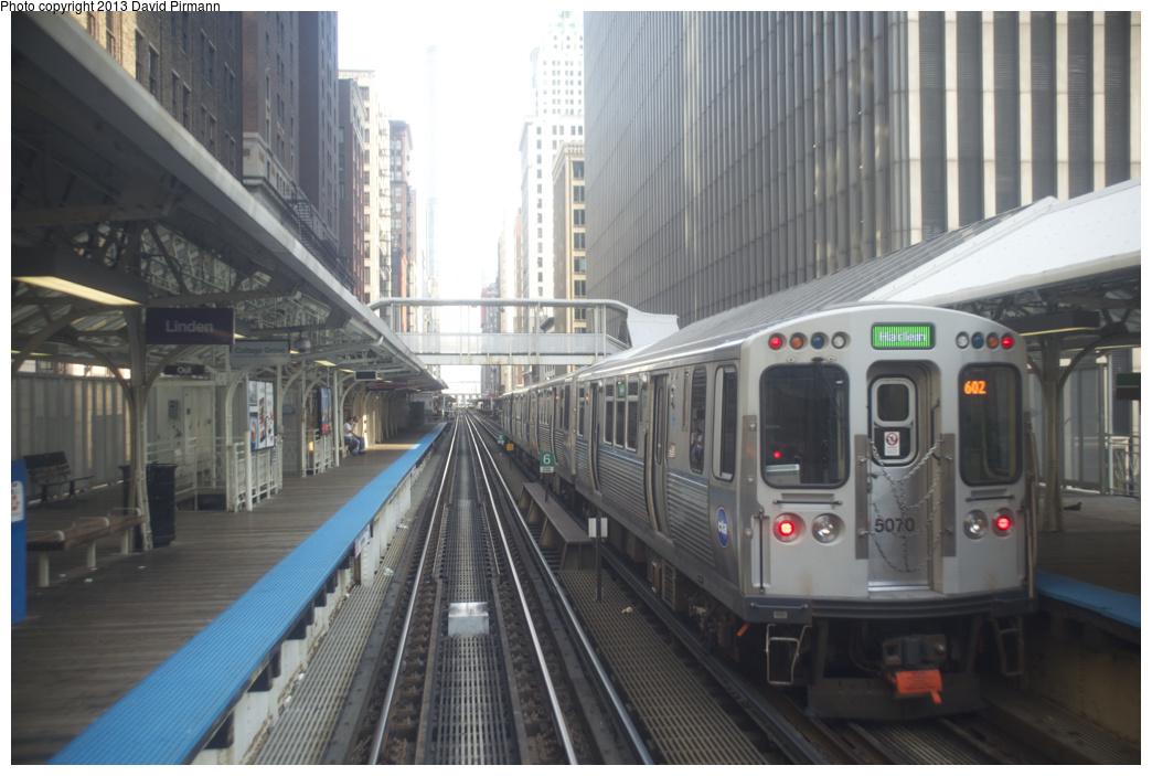 (277k, 1044x703)<br><b>Country:</b> United States<br><b>City:</b> Chicago, IL<br><b>System:</b> Chicago Transit Authority <br><b>Line:</b> CTA Loop<br><b>Location:</b> Madison/Wabash <br><b>Route:</b> Green<br><b>Car:</b> CTA 5000 Series 5070 <br><b>Photo by:</b> David Pirmann<br><b>Date:</b> 8/25/2013<br><b>Viewed (this week/total):</b> 0 / 431