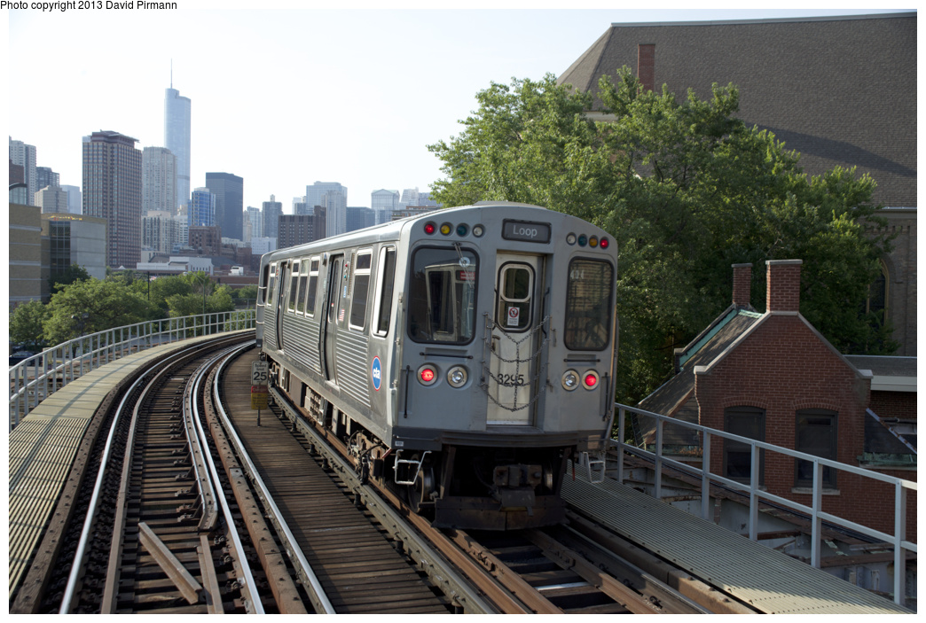 (357k, 1044x703)<br><b>Country:</b> United States<br><b>City:</b> Chicago, IL<br><b>System:</b> Chicago Transit Authority <br><b>Line:</b> CTA Brown/Purple <br><b>Location:</b> Church Curve (Near W. Hill St.) <br><b>Route:</b> Brown<br><b>Car:</b> CTA 3200 Series 3295 <br><b>Photo by:</b> David Pirmann<br><b>Date:</b> 8/25/2013<br><b>Viewed (this week/total):</b> 1 / 724