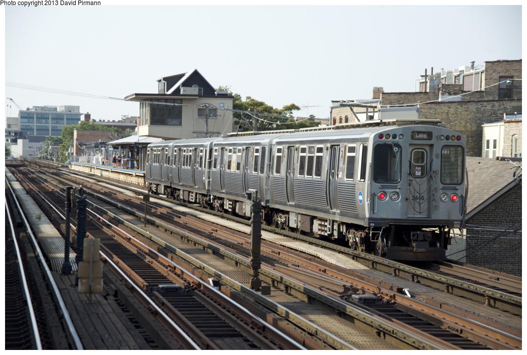 (339k, 1044x703)<br><b>Country:</b> United States<br><b>City:</b> Chicago, IL<br><b>System:</b> Chicago Transit Authority <br><b>Line:</b> CTA Brown/Purple <br><b>Location:</b> Armitage <br><b>Route:</b> Brown<br><b>Car:</b> CTA 3200 Series 3446 <br><b>Photo by:</b> David Pirmann<br><b>Date:</b> 8/25/2013<br><b>Viewed (this week/total):</b> 4 / 550