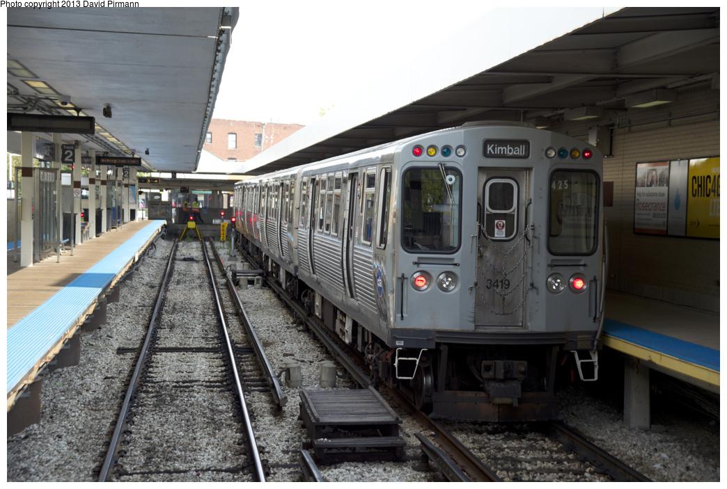 (318k, 1044x703)<br><b>Country:</b> United States<br><b>City:</b> Chicago, IL<br><b>System:</b> Chicago Transit Authority <br><b>Line:</b> CTA Brown (Ravenswood)<br><b>Location:</b> Kimball <br><b>Route:</b> Brown<br><b>Car:</b> CTA 3200 Series 3419 <br><b>Photo by:</b> David Pirmann<br><b>Date:</b> 8/25/2013<br><b>Viewed (this week/total):</b> 1 / 590