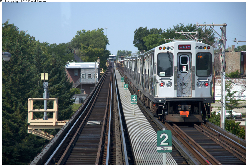 (376k, 1044x703)<br><b>Country:</b> United States<br><b>City:</b> Chicago, IL<br><b>System:</b> Chicago Transit Authority <br><b>Line:</b> CTA Green (Lake/South Side)<br><b>Location:</b> Halsted <br><b>Route:</b> Red<br><b>Car:</b> CTA 5000 Series 5167 <br><b>Photo by:</b> David Pirmann<br><b>Date:</b> 8/25/2013<br><b>Viewed (this week/total):</b> 1 / 498
