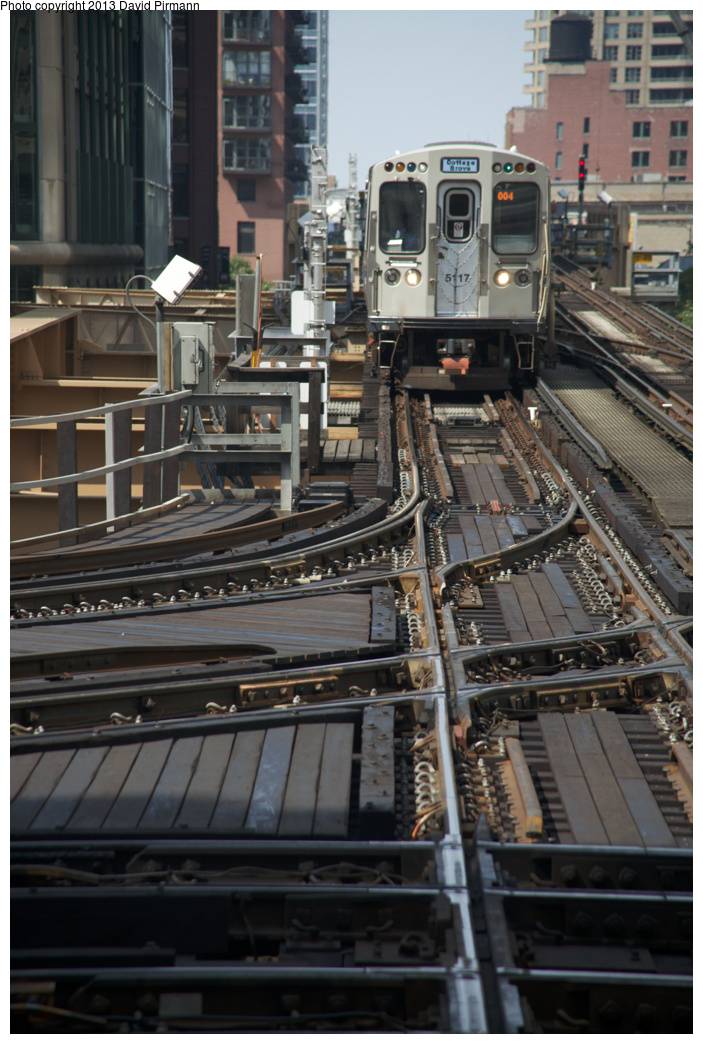 (321k, 703x1044)<br><b>Country:</b> United States<br><b>City:</b> Chicago, IL<br><b>System:</b> Chicago Transit Authority <br><b>Line:</b> CTA Loop<br><b>Location:</b> Tower 18 <br><b>Route:</b> Green<br><b>Car:</b> CTA 5000 Series 5117 <br><b>Photo by:</b> David Pirmann<br><b>Date:</b> 8/25/2013<br><b>Viewed (this week/total):</b> 4 / 550