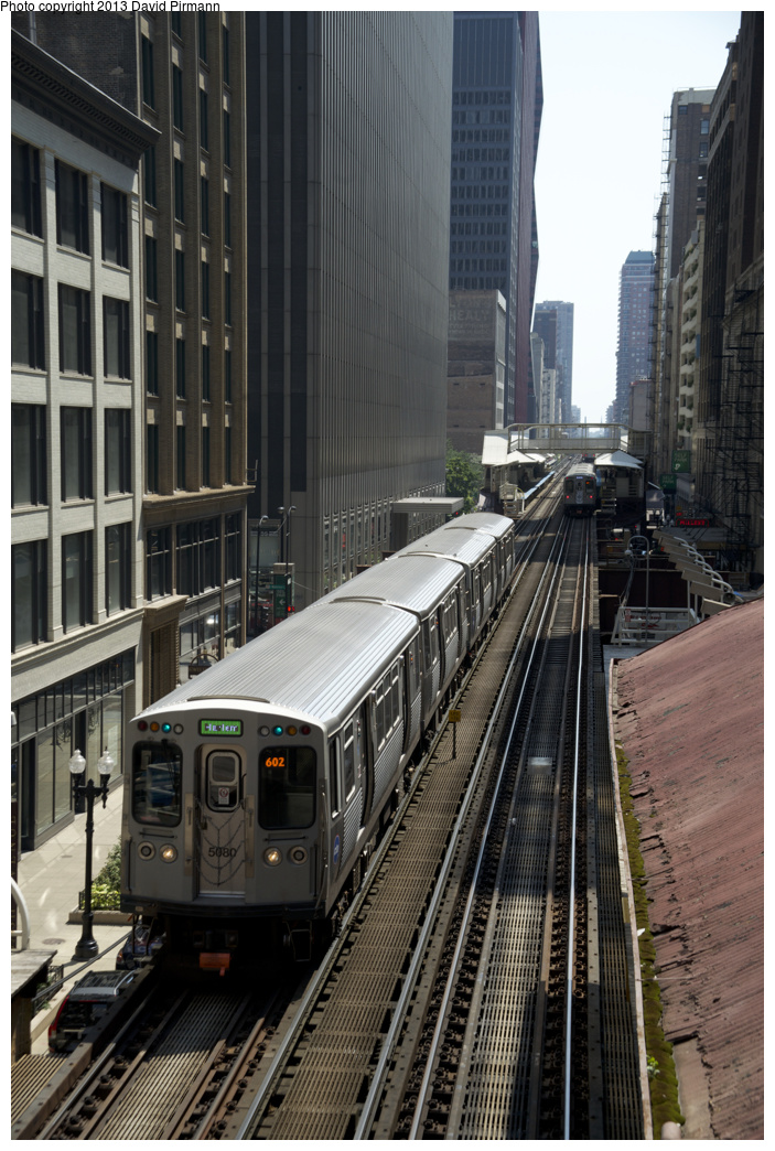 (347k, 703x1044)<br><b>Country:</b> United States<br><b>City:</b> Chicago, IL<br><b>System:</b> Chicago Transit Authority <br><b>Line:</b> CTA Loop<br><b>Location:</b> Madison/Wabash <br><b>Route:</b> Green<br><b>Car:</b> CTA 5000 Series 5080 <br><b>Photo by:</b> David Pirmann<br><b>Date:</b> 8/25/2013<br><b>Viewed (this week/total):</b> 1 / 494