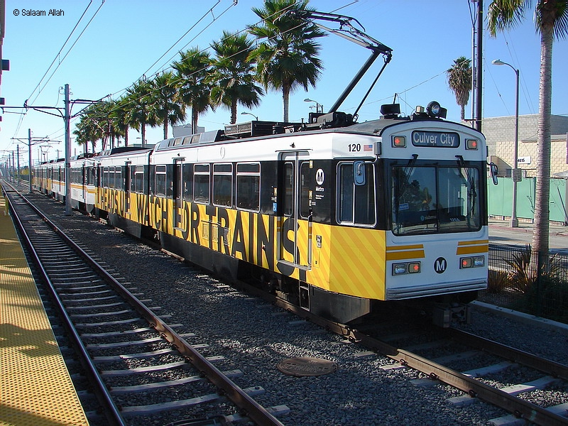 (517k, 800x600)<br><b>Country:</b> United States<br><b>City:</b> Los Angeles, CA<br><b>System:</b> Los Angeles County MTA<br><b>Line:</b> Aqua (Expo) Line<br><b>Location:</b> Farmdale <br><b>Car:</b> P850/P865 (Nippon Sharyo, 1989-1994)  120 <br><b>Photo by:</b> Salaam Allah<br><b>Date:</b> 10/1/2013<br><b>Viewed (this week/total):</b> 1 / 715