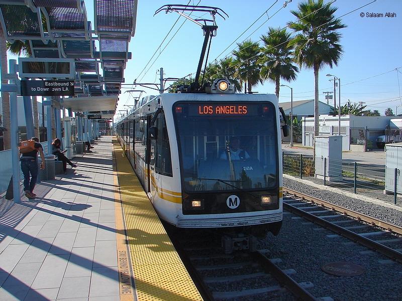 (486k, 800x600)<br><b>Country:</b> United States<br><b>City:</b> Los Angeles, CA<br><b>System:</b> Los Angeles County MTA<br><b>Line:</b> Aqua (Expo) Line<br><b>Location:</b> Farmdale <br><b>Car:</b> P2000 (Siemens, 1996-1999)  241 <br><b>Photo by:</b> Salaam Allah<br><b>Date:</b> 10/1/2013<br><b>Viewed (this week/total):</b> 3 / 626