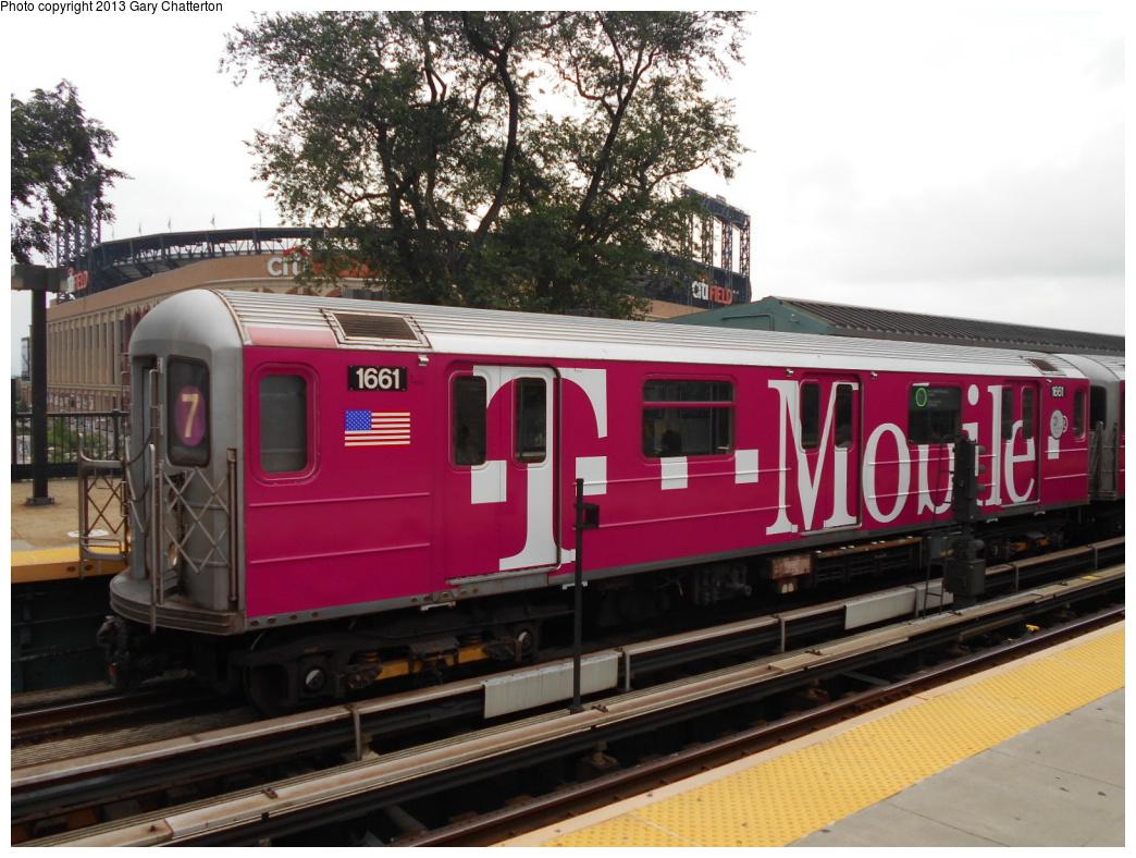 (382k, 1044x788)<br><b>Country:</b> United States<br><b>City:</b> New York<br><b>System:</b> New York City Transit<br><b>Line:</b> IRT Flushing Line<br><b>Location:</b> Willets Point/Mets (fmr. Shea Stadium) <br><b>Route:</b> 7<br><b>Car:</b> R-62A (Bombardier, 1984-1987)  1661 <br><b>Photo by:</b> Gary Chatterton<br><b>Date:</b> 7/13/2013<br><b>Notes:</b> T-Mobile wrap<br><b>Viewed (this week/total):</b> 1 / 1079