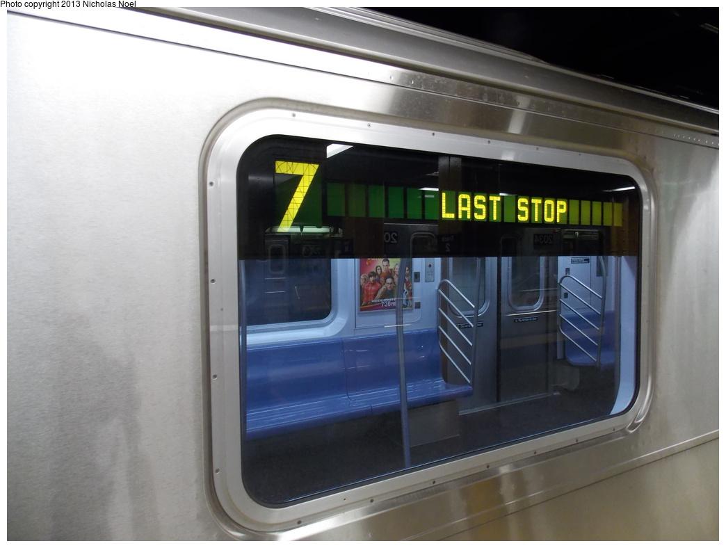(271k, 1044x788)<br><b>Country:</b> United States<br><b>City:</b> New York<br><b>System:</b> New York City Transit<br><b>Line:</b> IRT Flushing Line<br><b>Location:</b> Main Street/Flushing <br><b>Route:</b> 7<br><b>Car:</b> R-188 (Kawasaki, 2012-) 7821 <br><b>Photo by:</b> Nicholas Noel<br><b>Date:</b> 12/1/2013<br><b>Viewed (this week/total):</b> 0 / 1489