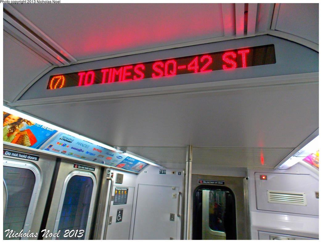 (277k, 1044x788)<br><b>Country:</b> United States<br><b>City:</b> New York<br><b>System:</b> New York City Transit<br><b>Route:</b> 7<br><b>Car:</b> R-188 (Kawasaki, 2012-) 7811 <br><b>Photo by:</b> Nicholas Noel<br><b>Date:</b> 12/1/2013<br><b>Viewed (this week/total):</b> 2 / 952