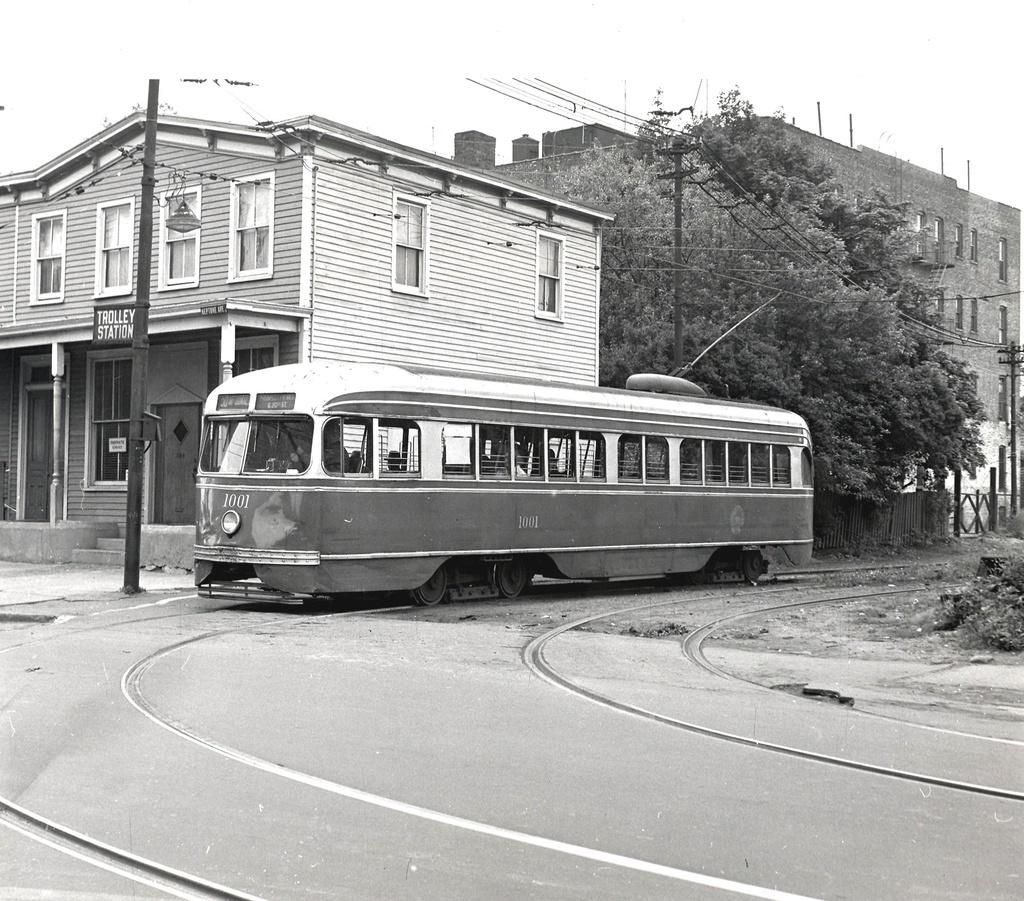 (368k, 1024x901)<br><b>Country:</b> United States<br><b>City:</b> New York<br><b>System:</b> Brooklyn & Queens Transit<br><b>Line:</b> 50/McDonald <br><b>Location:</b> 50/McDonald Location Unknown <br><b>Car:</b> Brooklyn & Queens Transit PCC (St. Louis Car, 1936)  1001 <br><b>Date:</b> 6/9/1956<br><b>Viewed (this week/total):</b> 2 / 388