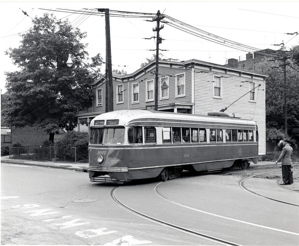(350k, 1024x844)<br><b>Country:</b> United States<br><b>City:</b> New York<br><b>System:</b> Brooklyn & Queens Transit<br><b>Line:</b> 50/McDonald <br><b>Location:</b> 50/McDonald Location Unknown <br><b>Car:</b> Brooklyn & Queens Transit PCC (St. Louis Car, 1936)  1001 <br><b>Date:</b> 6/9/1956<br><b>Viewed (this week/total):</b> 0 / 431