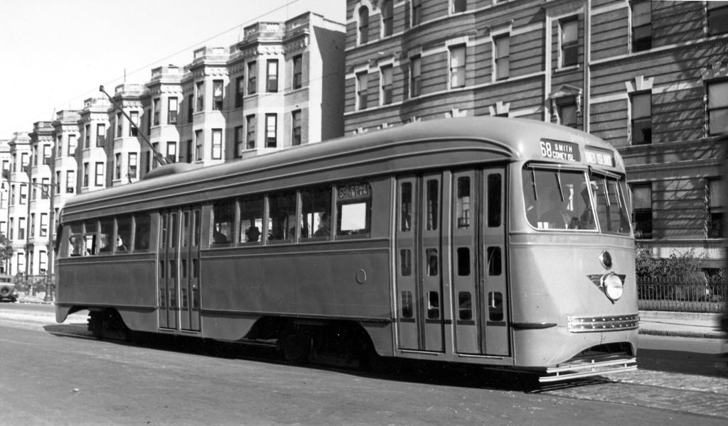 (199k, 1024x600)<br><b>Country:</b> United States<br><b>City:</b> New York<br><b>System:</b> Brooklyn & Queens Transit<br><b>Line:</b> 68/Coney Island Ave. <br><b>Location:</b> Prospect Park SW -- Bartel-Pritchard Square <br><b>Car:</b> Brooklyn & Queens Transit PCC (St. Louis Car, 1936)  1002 <br><b>Date:</b> 10/4/1936<br><b>Viewed (this week/total):</b> 1 / 418