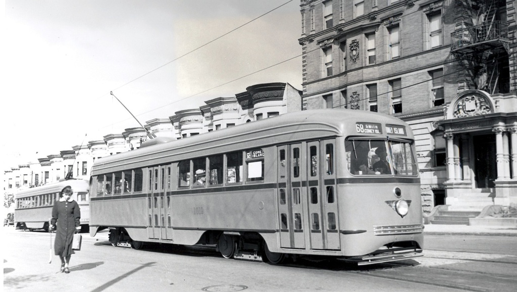(199k, 1024x578)<br><b>Country:</b> United States<br><b>City:</b> New York<br><b>System:</b> Brooklyn & Queens Transit<br><b>Line:</b> 68/Coney Island Ave. <br><b>Location:</b> Prospect Park SW -- Bartel-Pritchard Square <br><b>Car:</b> Brooklyn & Queens Transit PCC (St. Louis Car, 1936)  1019 <br><b>Date:</b> 10/18/1936<br><b>Viewed (this week/total):</b> 1 / 344