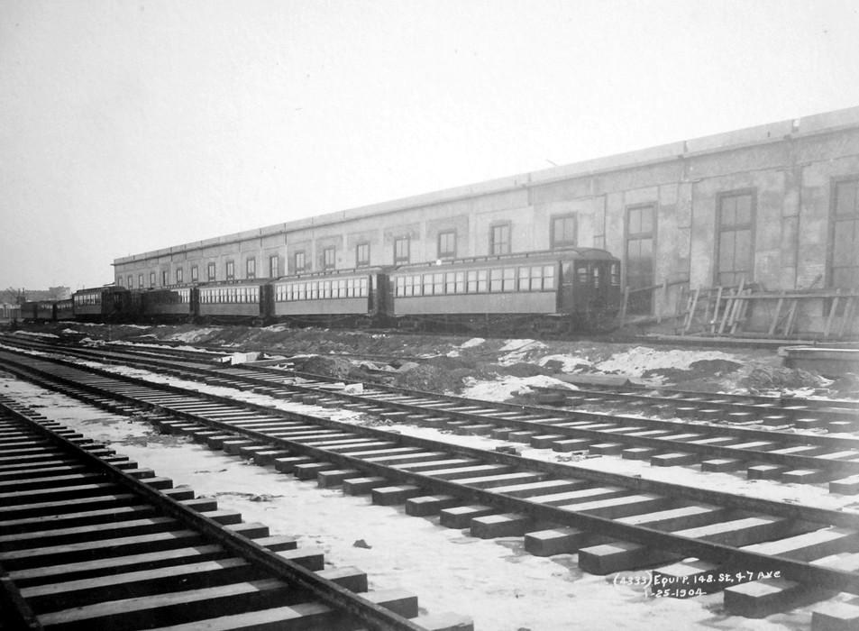 (161k, 953x700)<br><b>Country:</b> United States<br><b>City:</b> New York<br><b>System:</b> New York City Transit<br><b>Location:</b> Lenox/148th St. Yard<br><b>Collection of:</b> Frank Pfuhler<br><b>Date:</b> 1/25/1904<br><b>Viewed (this week/total):</b> 0 / 1077