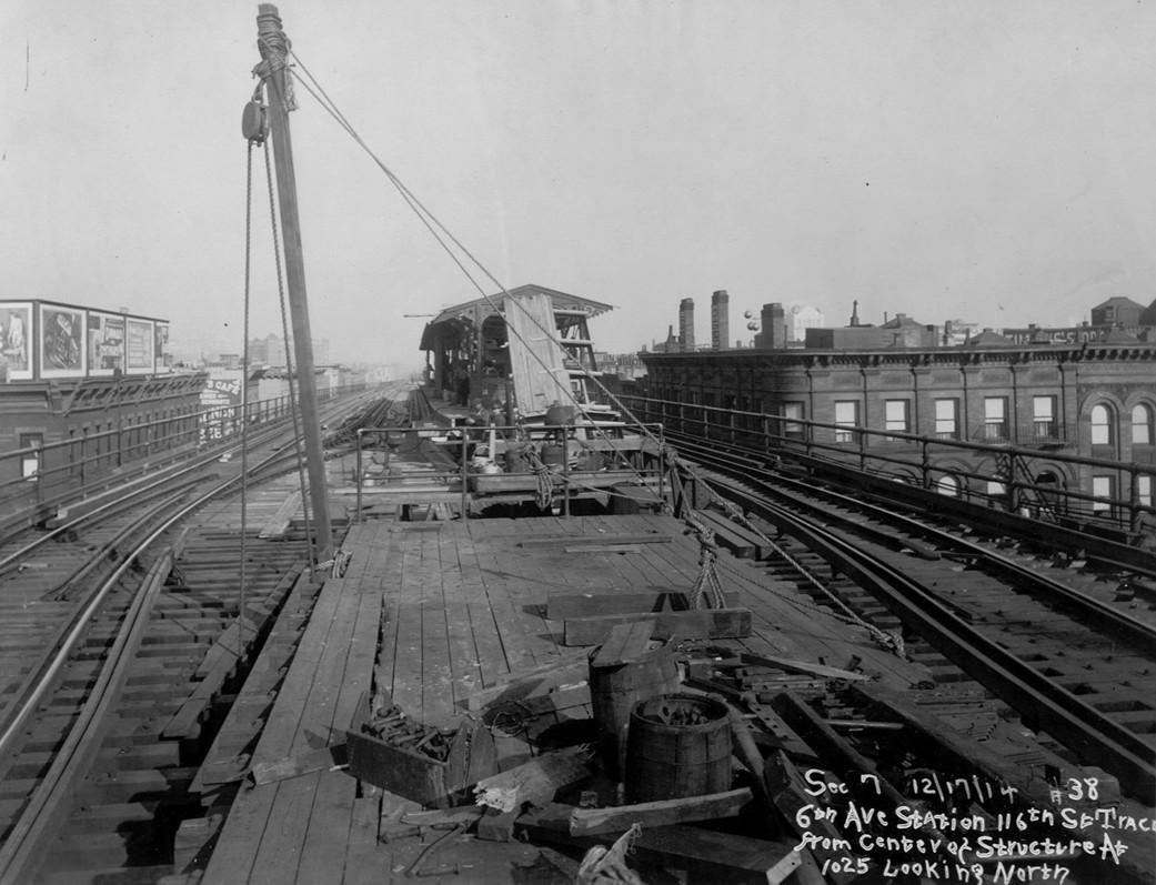 (199k, 1041x797)<br><b>Country:</b> United States<br><b>City:</b> New York<br><b>System:</b> New York City Transit<br><b>Line:</b> 9th Avenue El<br><b>Location:</b> 116th Street <br><b>Collection of:</b> Frank Pfuhler<br><b>Date:</b> 12/17/1914<br><b>Viewed (this week/total):</b> 1 / 1004