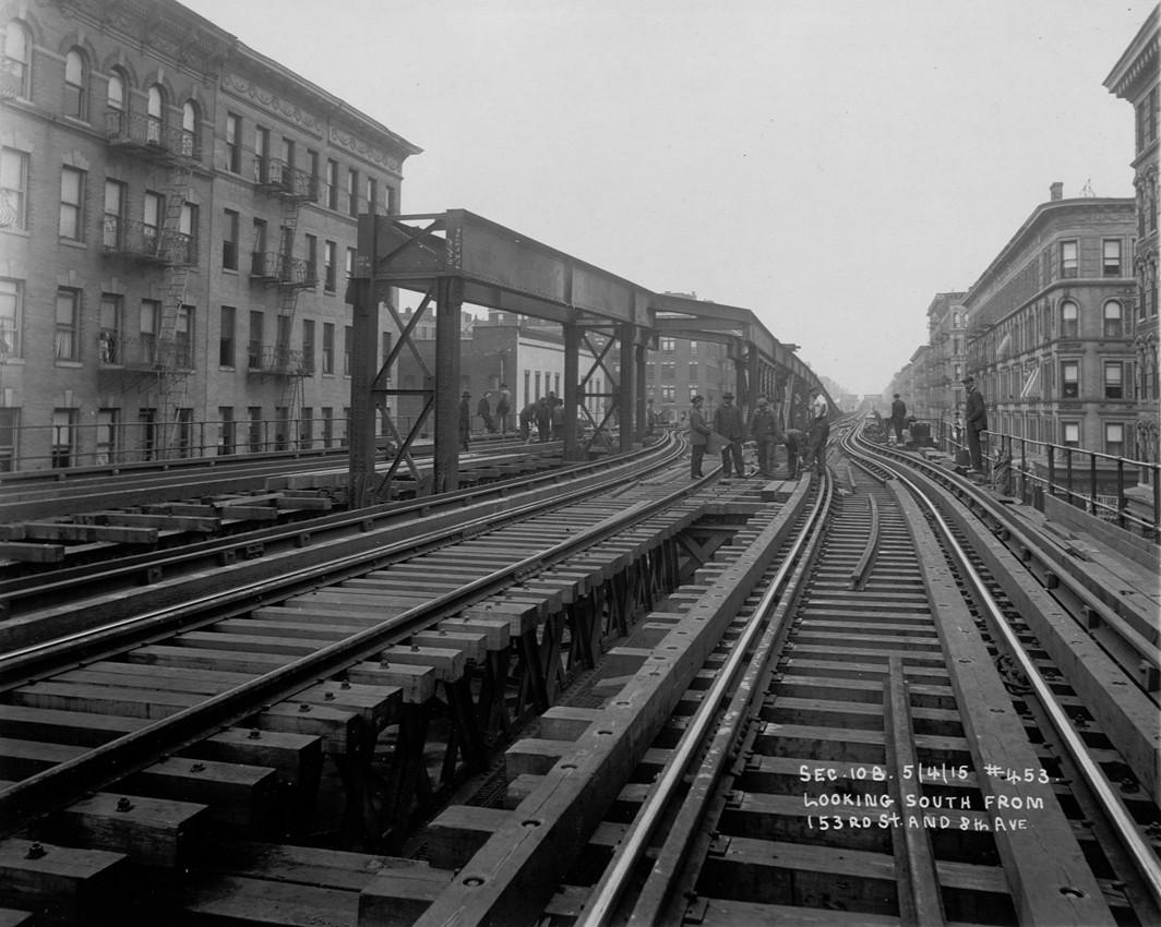 (226k, 1064x850)<br><b>Country:</b> United States<br><b>City:</b> New York<br><b>System:</b> New York City Transit<br><b>Line:</b> 9th Avenue El<br><b>Location:</b> 151st Street <br><b>Collection of:</b> Frank Pfuhler<br><b>Date:</b> 5/14/1916<br><b>Notes:</b> Looking south from 153rd St<br><b>Viewed (this week/total):</b> 1 / 908