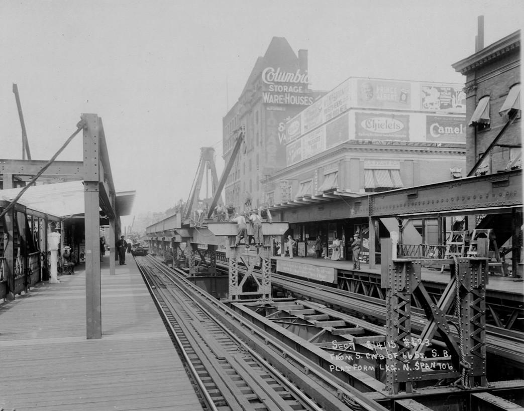 (212k, 1043x819)<br><b>Country:</b> United States<br><b>City:</b> New York<br><b>System:</b> New York City Transit<br><b>Line:</b> 9th Avenue El<br><b>Location:</b> 66th Street <br><b>Collection of:</b> Frank Pfuhler<br><b>Date:</b> 8/4/1915<br><b>Viewed (this week/total):</b> 2 / 1021