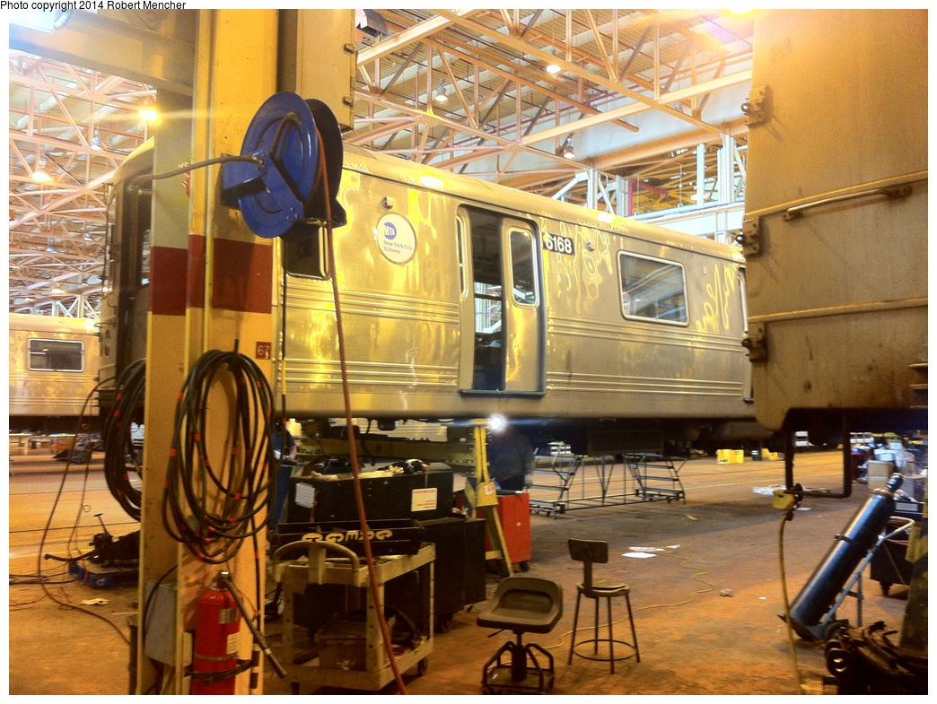 (400k, 1044x785)<br><b>Country:</b> United States<br><b>City:</b> New York<br><b>System:</b> New York City Transit<br><b>Location:</b> Coney Island Shop/Overhaul & Repair Shop<br><b>Car:</b> R-46 (Pullman-Standard, 1974-75) 6168 <br><b>Photo by:</b> Robert Mencher<br><b>Date:</b> 1/8/2014<br><b>Viewed (this week/total):</b> 0 / 694