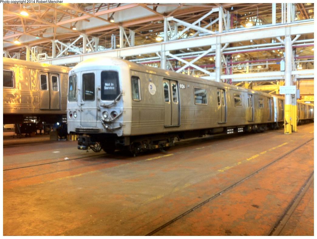 (342k, 1044x785)<br><b>Country:</b> United States<br><b>City:</b> New York<br><b>System:</b> New York City Transit<br><b>Location:</b> Coney Island Shop/Overhaul & Repair Shop<br><b>Car:</b> R-46 (Pullman-Standard, 1974-75) 6124 <br><b>Photo by:</b> Robert Mencher<br><b>Date:</b> 1/8/2014<br><b>Viewed (this week/total):</b> 0 / 975