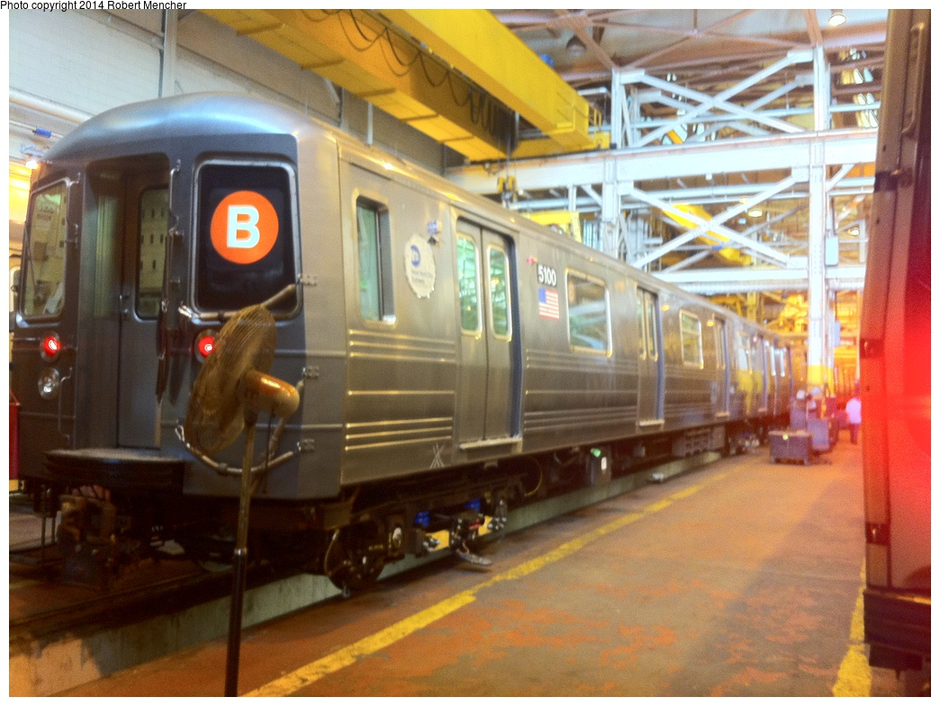 (326k, 1044x785)<br><b>Country:</b> United States<br><b>City:</b> New York<br><b>System:</b> New York City Transit<br><b>Location:</b> Coney Island Shop/Overhaul & Repair Shop<br><b>Car:</b> R-68A (Kawasaki, 1988-1989)  5100 <br><b>Photo by:</b> Robert Mencher<br><b>Date:</b> 1/8/2014<br><b>Viewed (this week/total):</b> 0 / 829